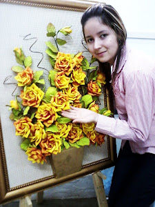 Eu e este maravilhoso quadro de flores 3d