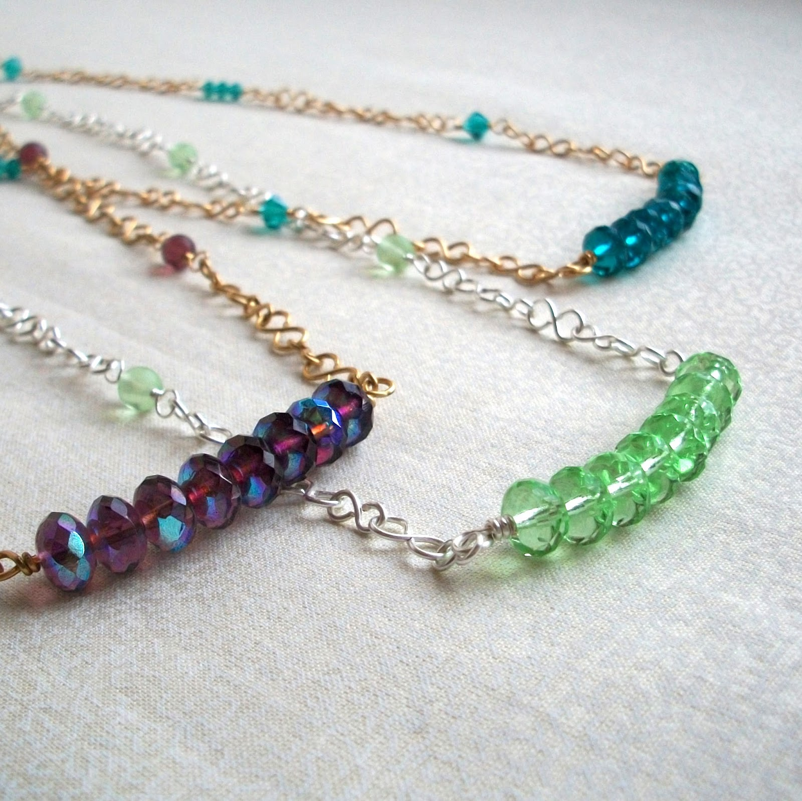 Three Sets of Glass Jewelry Designs, Purple, Green & Teal