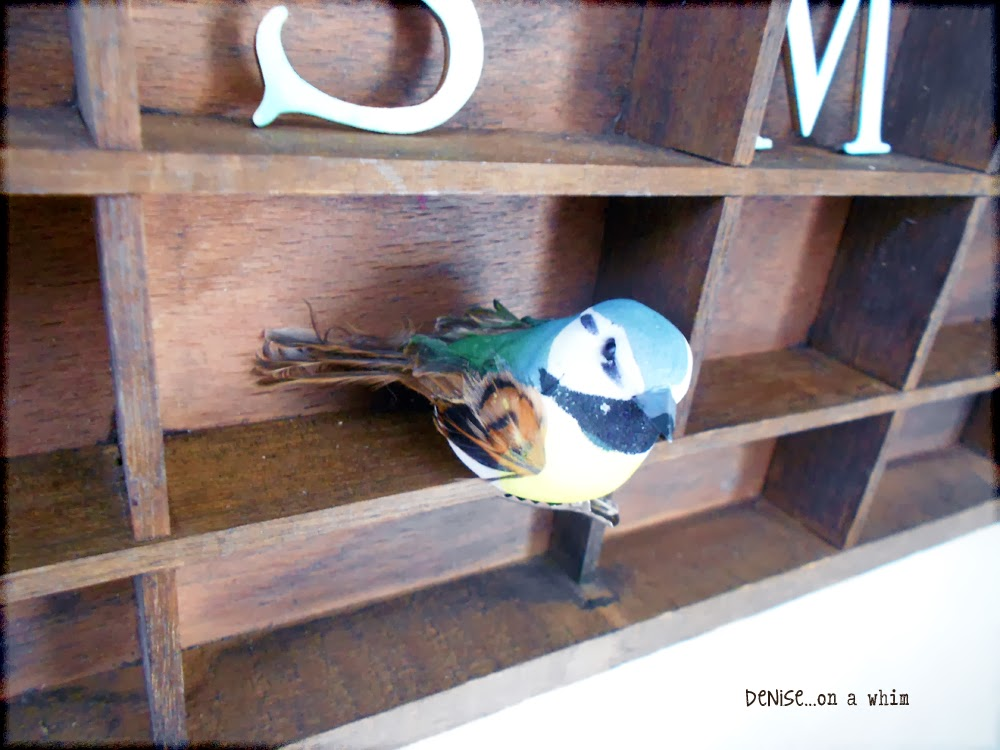 Spring Bird on a Printer's Tray Shelf via http://deniseonawhim.blogspot.com