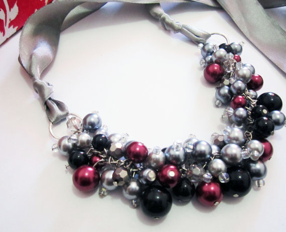 Pearl Cluster Necklace with Ribbon Tie