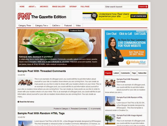 The Gazette Edition Blogger Template