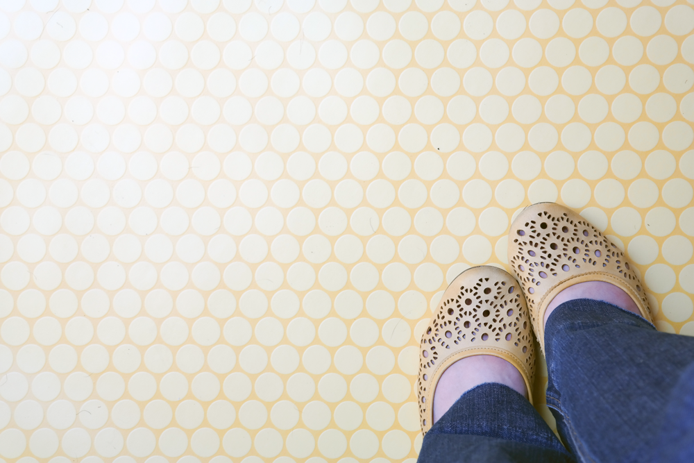 Yellow shoes, yellow polkadot floor