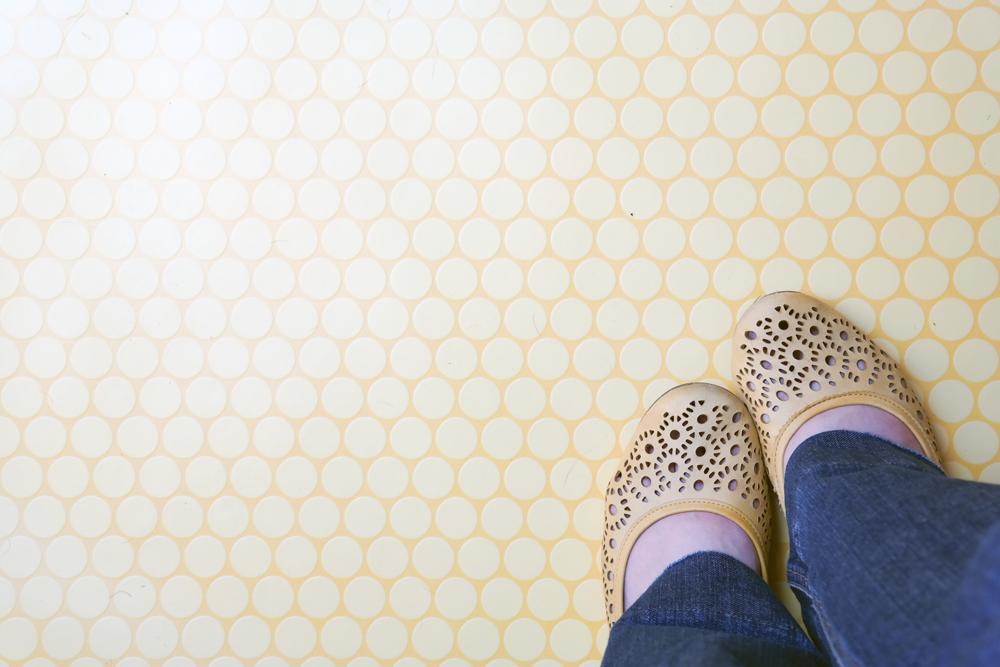 Yellow shoes, yellow polkadot floor