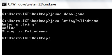 String Palindrome Program in Java