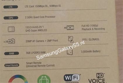 Svelato il presunto imballaggio del Galaxy S5 che mostrebbe le specifiche ufficiali del nuovo smartphone android kitkat top di gamma di Samsung