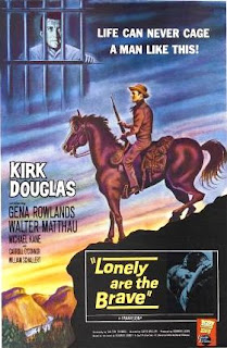 Film Poster for Lonely are the Brave Kirk Douglas 1962 movieloverreviews.blogspot.com