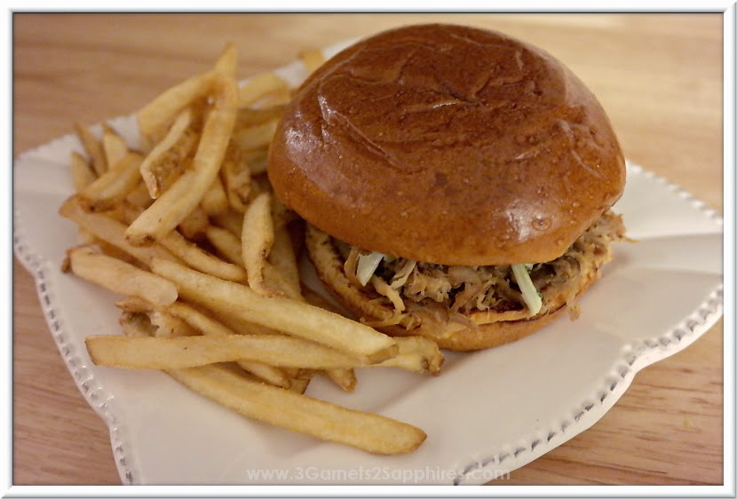 Wendy's BBQ Pulled Pork Sandwich with Fries #Frosty4Adoption  |  www.3Garnets2Sapphires.com