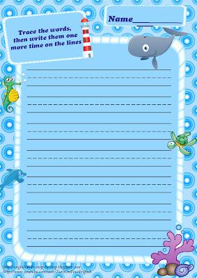 sea animals handwriting paper