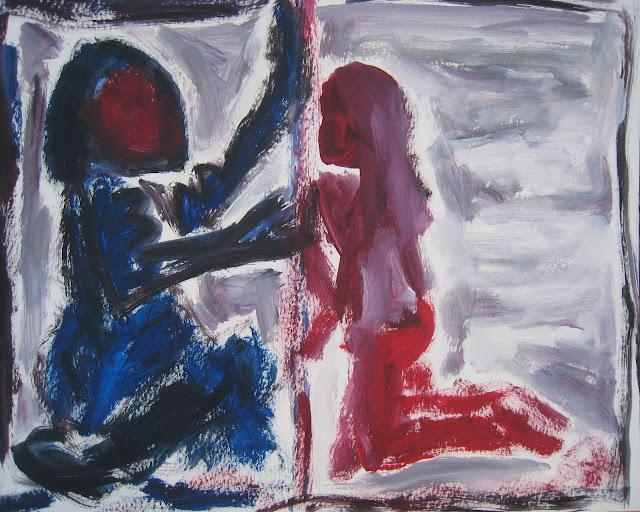 Pintura que muestra a y hombre y mujer buscando solucionar e intentando superar sus problemas de comunicación, obra de Emebezeta