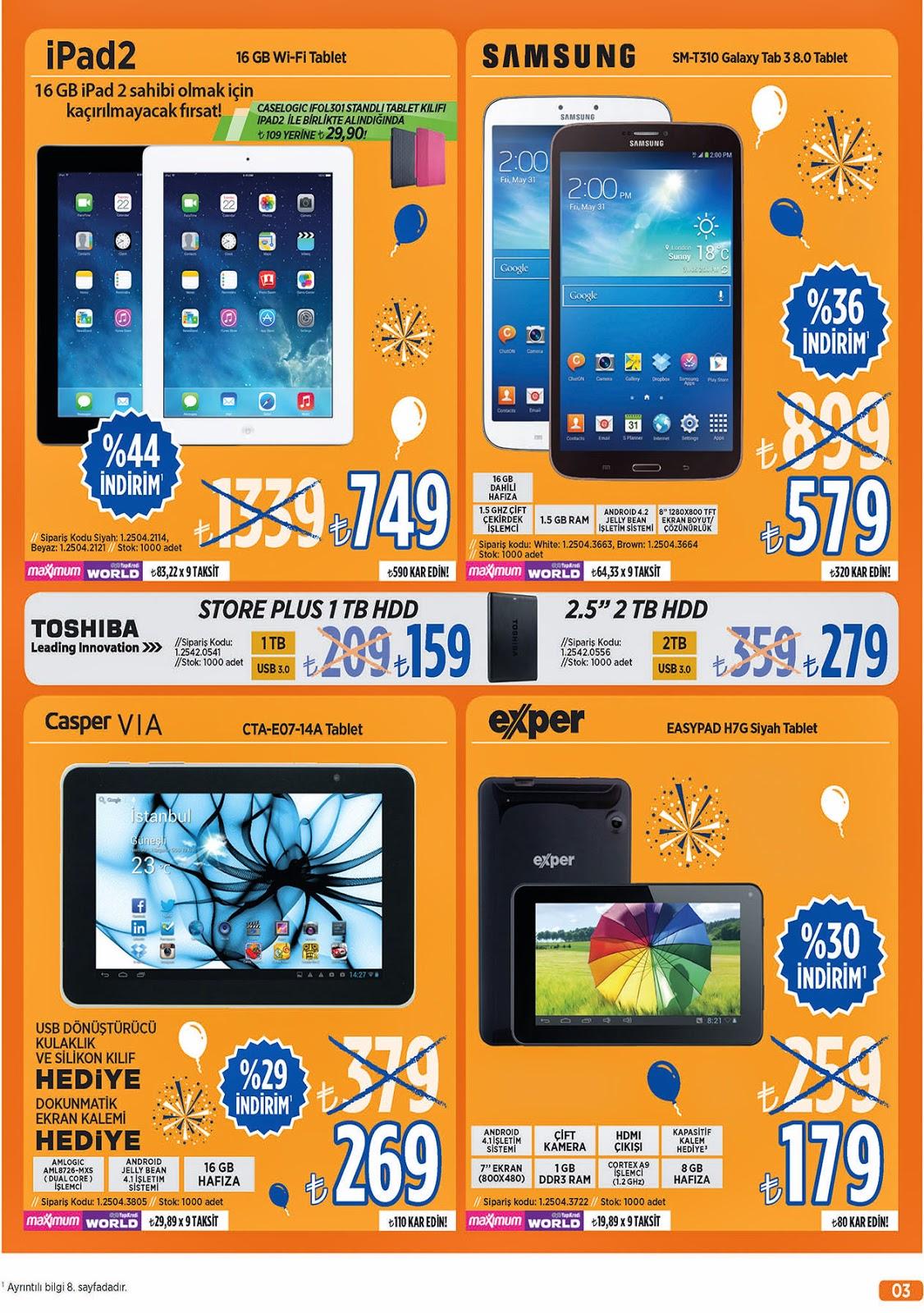 Teknosa 23-24-25-26-27 Nisan 2014 Tarihli Güncel Broşür Ve Katalog Tablet Bilgisayarlar ipad2 Katalog ve İndirimler,Teknosa için yayınlanmış broşür, katalog ve insertler ,Ürünler Ve Özellikleri APPLE iPad2 16GB Wi-Fi / Siyah,SAMSUNG SM-T310 GALAXY TAB 3 8.0 WHITE TABLET,CASPER CTA-E07-14A TABLET,EXPER EASYPAD H7G SİYAH TABLET