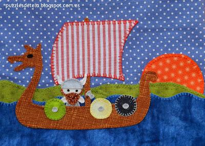 Bolsa de merienda, mochila, barco vikingo, patchwork, hecho a mano, handmade, puzzles de tela, mitología nórdica, Vikingos, barco vikingo, Vikings, drakkar, sol de medianoche, Vuelta al cole, regalos para niños, bags,