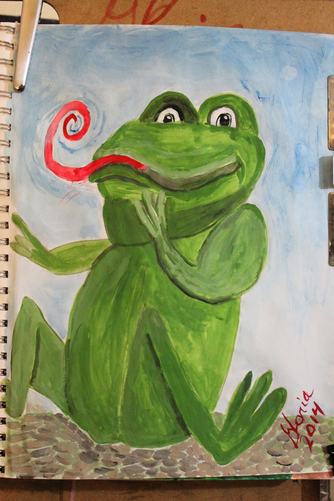 """Swamp frog cartoon"" by Gloria Poole of Missouri; 16-Mar-2014; acrylics"