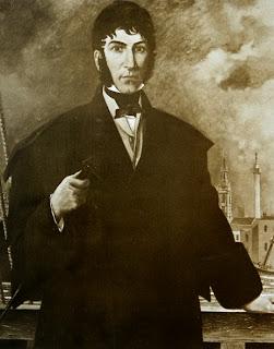 'San Martín a bordo de la fragata George Canning', óleo de Alexander Norman Clark (Instituto Sanmartiniano)Tomado de Pinacoteca Virtual Sanmartiniana, de don Jorge César Estol