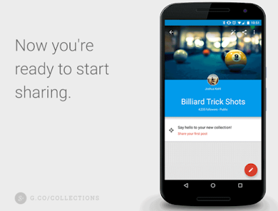 """The text """"Now you're ready to start sharing."""" next to a mobile phone picturing Google+ Collections."""