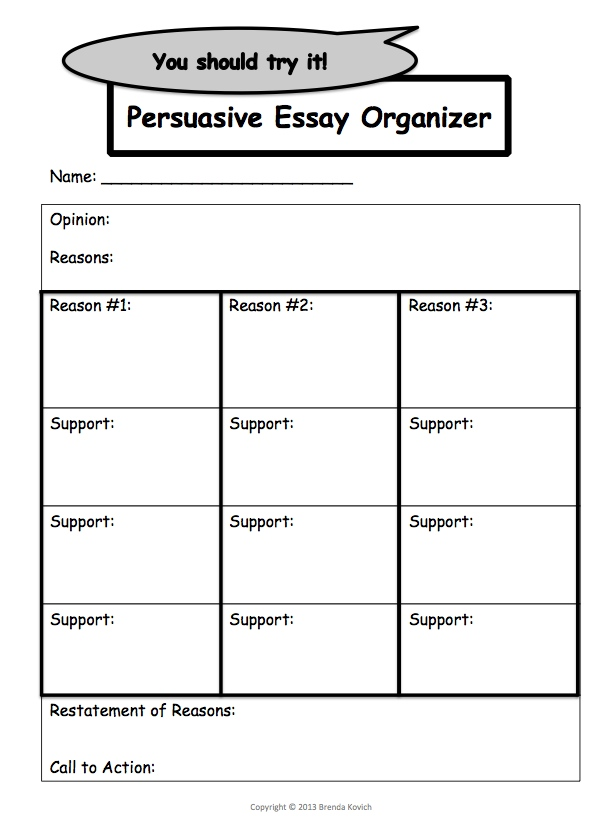 readwritethink persuasive essay graphic organizer Name_____ date_____ directions: use this graphic organizer to help organize or outline your ideas for your essay.