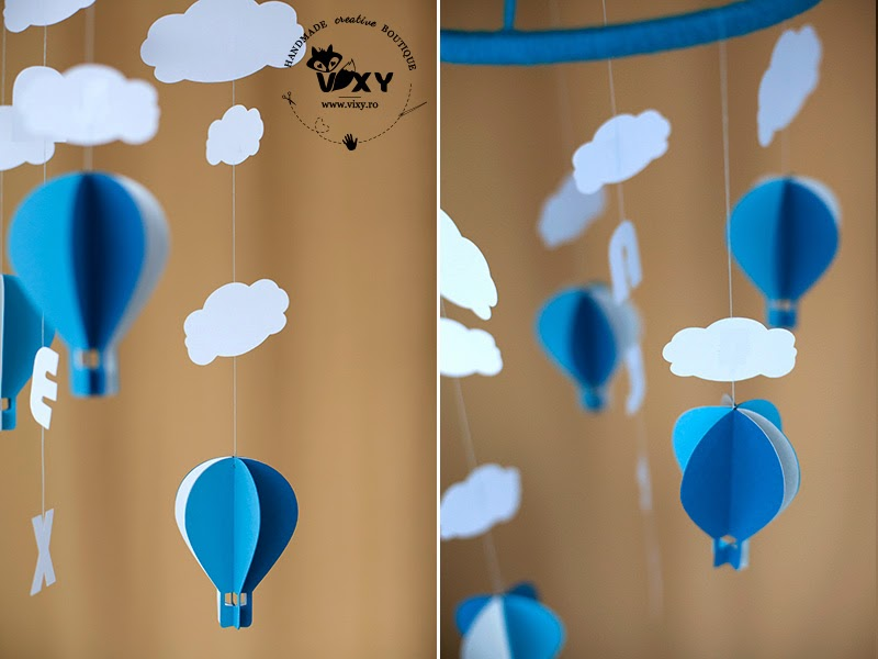 baloane cu aer cald, baby mobile hot air balloons, mobile baloane aer cald, norisori, nume bebe personalizat
