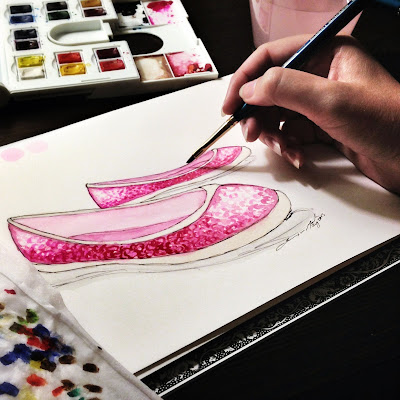 Watercolor fashion illustration of pink sequined ballet flat shoes
