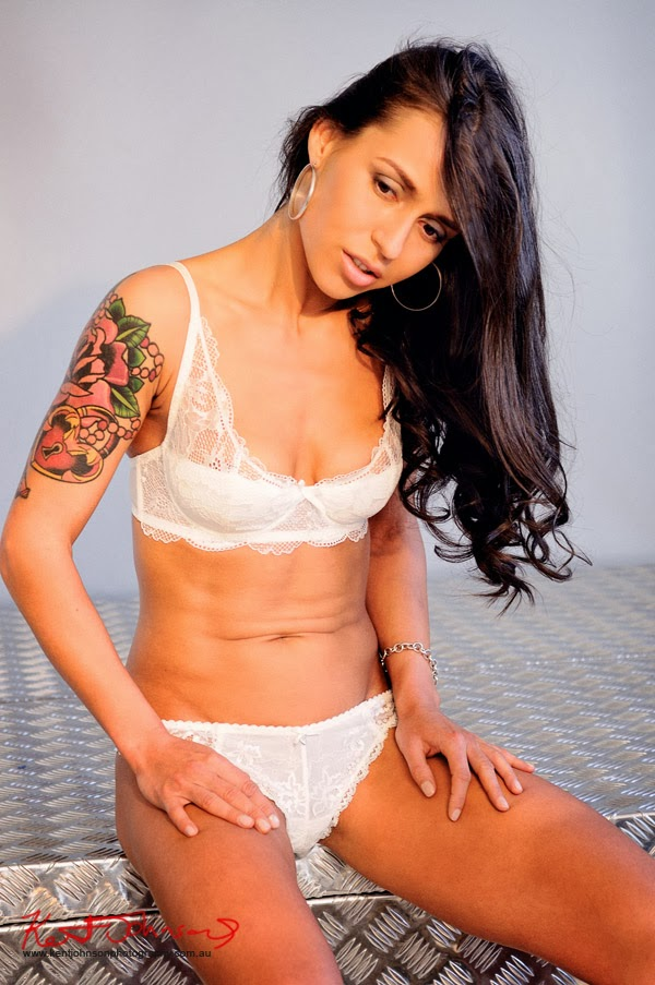 Seated white lingerie shot - Studio Modelling portfolio shoot by Kent Johnson.