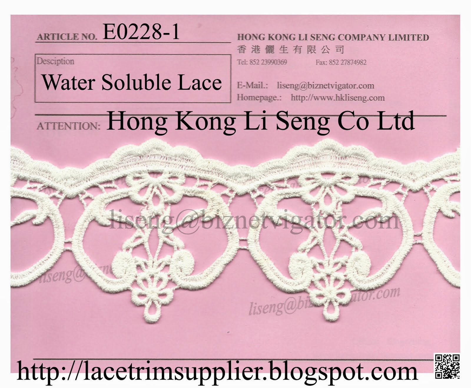 New Lace Pattern - Water Soluble Cotton Lace Manufacturer