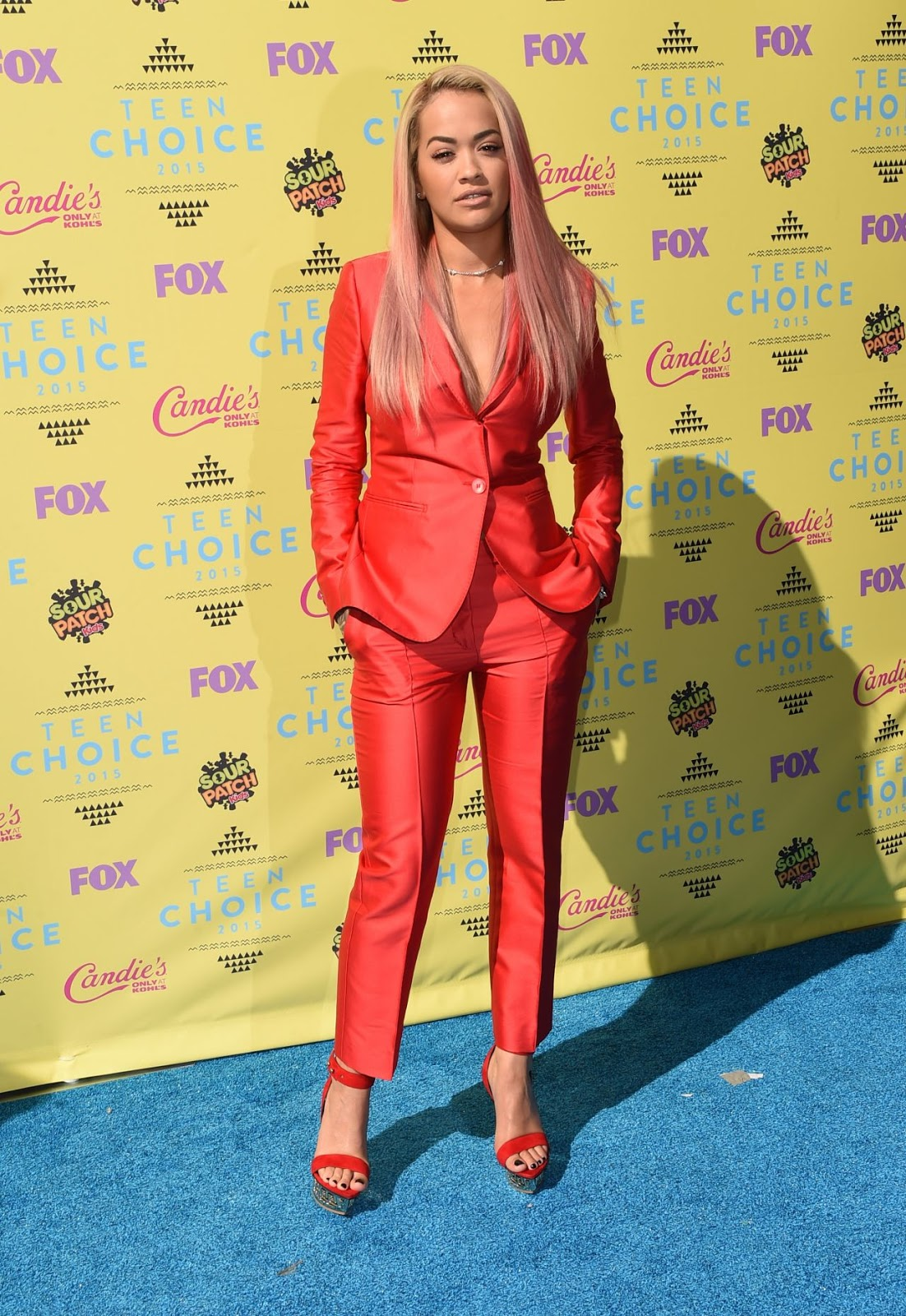 Rita Ora looks red hot for Teen Choice Awards 2015