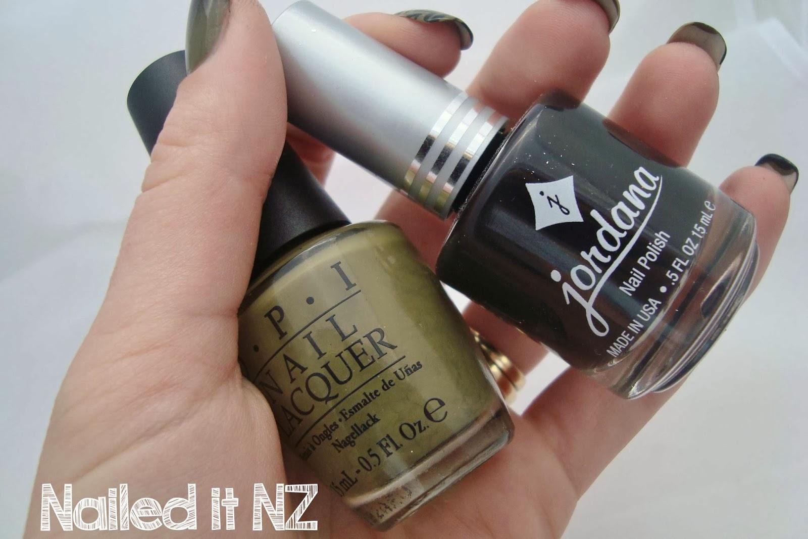 Two-Polish Nails - Khaki and Black | Trip Down Nail Art Lane Day 2