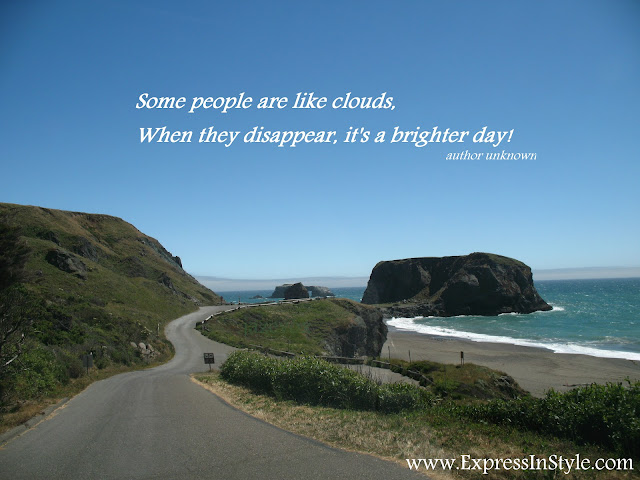 photography of hwy highway 1 or 101 road in CA California USA overlooking the pacific ocean in the west coast with inspirational saying or words of wisdom that some people are like clouds when they disappear its a brighter day, so dont be sad, instead be happy and thankful for a beautiful blue sky