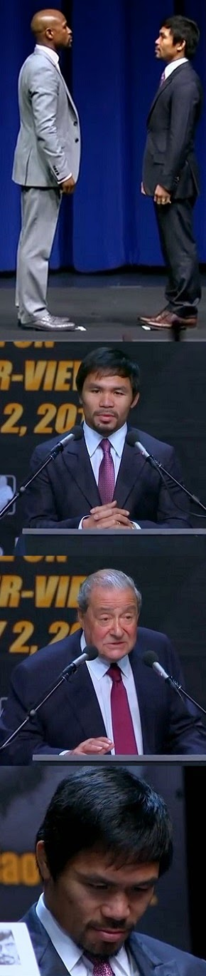 PACQUIAO  VS  MAYWEATHER  FACE-OFF, .... ARUM  PAYS  GREAT  TRIBUTE  TO  FILIPINOS!