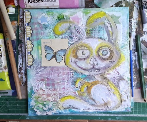 Carmen Wing - WiP on Mixed Media Grunge Pastel Bunny