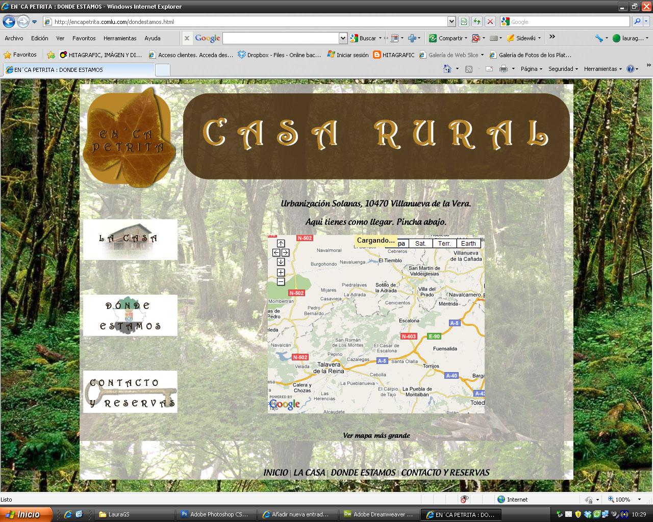 Hitagrafic im genes de la p gina web de casa rural en ca for Casa piscitelli pagina web
