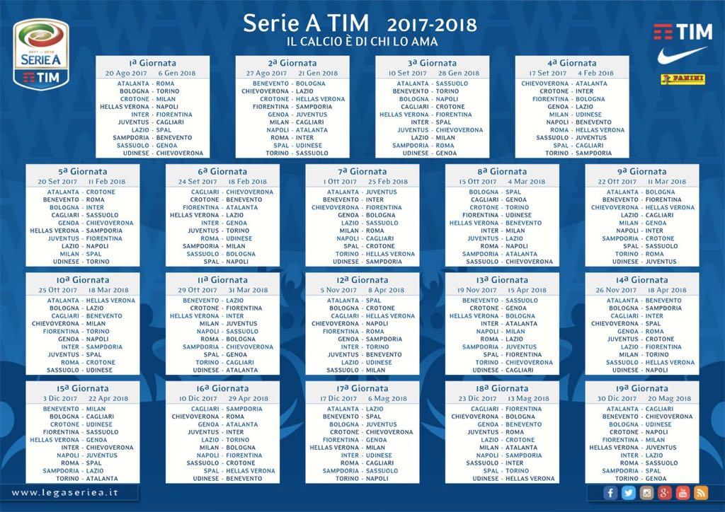 Calendario serie A 2017/18