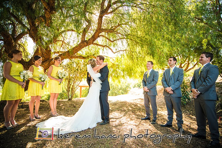 Wedding ceremony in the lemon orchard at the Limoneira Ranch