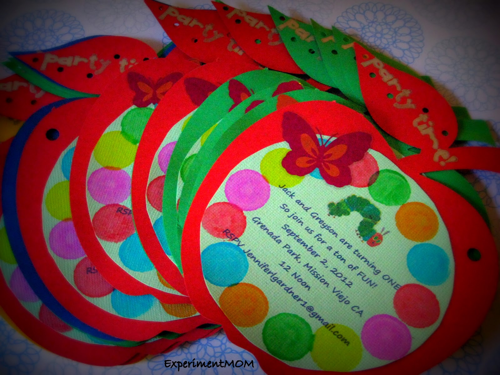 ExperimentMOM: Very Hungry Caterpillar Birthday Invitations