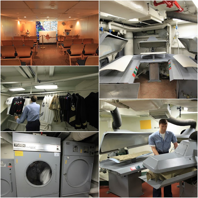Chapel, Laundry and Iron facilities are provided for the crews onboard at the USS Midway Museum in San Diego, California, USA