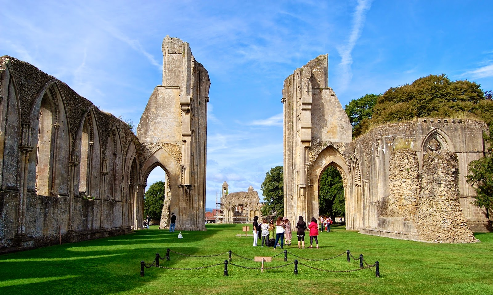 Ruins of Glastonbury Abbey viewed from the east