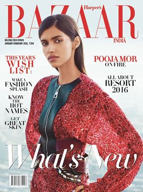 Pooja Mor on Fire-Harper Bazar Magazine cover page