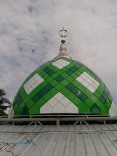 kubah masjid, panel, enamel, powdercoating, plat, galvalume, zincalume, makara, mahkota, stainless steel