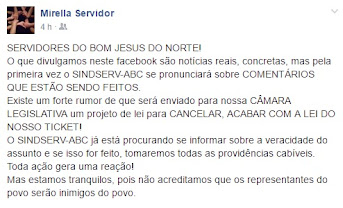 Bom Jesus do Norte | Rumores de novo ataque do governo contra o cartão alimentação dos servidores
