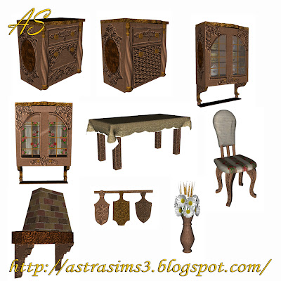 My sims 3 blog royal wooden kitchen set by astra for Kitchen set royal