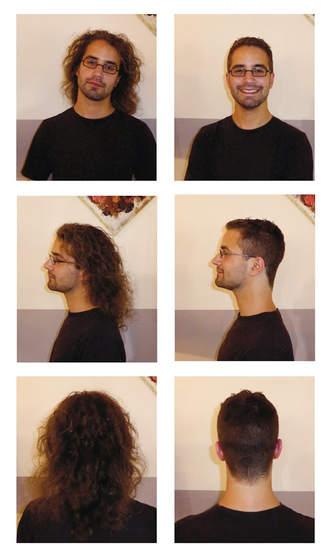 Adrien, avant et après la coupe réalisée par Eddy,  coiffeur visagiste à Montpellier, au Studio 54.