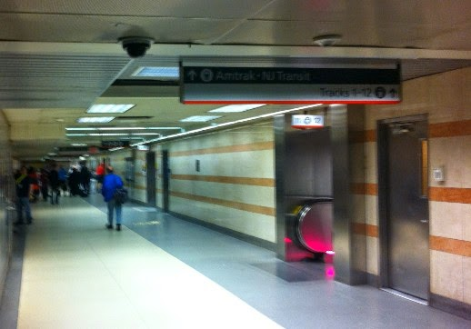 Entrance to the NJ Transit and Amtrack Platforms at Penn Station NYC from the LIRR and 1,2 and 3 C and E Subway Lines