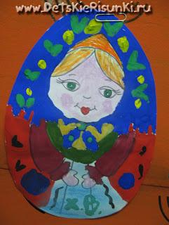 Детские Рисунки пасхальные яйца раскраски матрешки гуашь