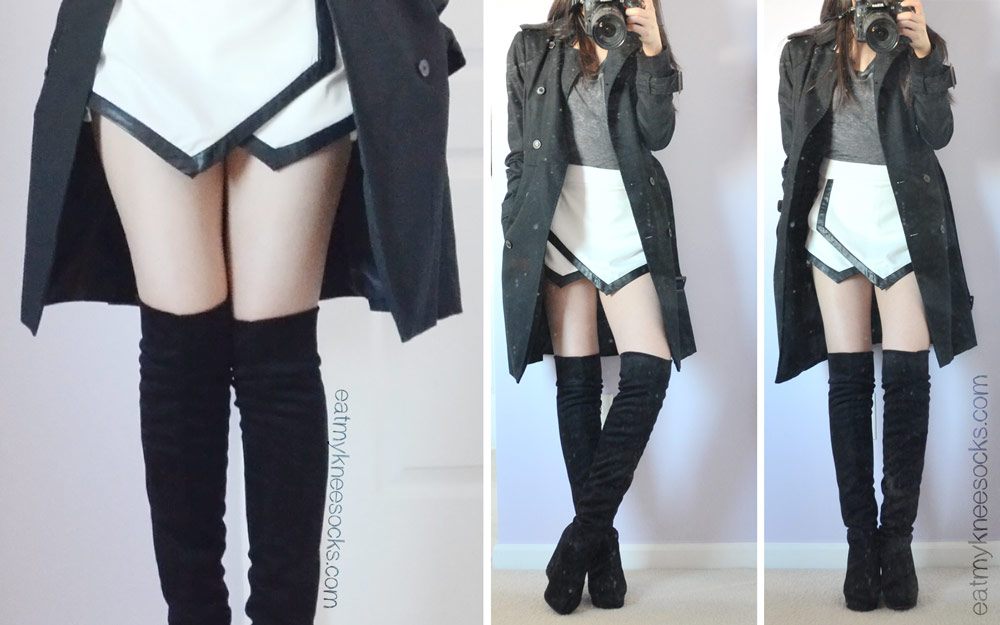 Alternative outfit coordinate featuring the Romwe asymmetrical origami skort, over-the-knee faux suede boots, a Zara black trench coat, and a gray T-shirt.