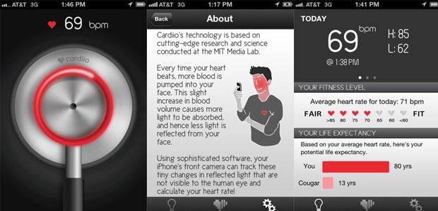 Screenshot aplikasi 'Cardiio' untuk iPhone