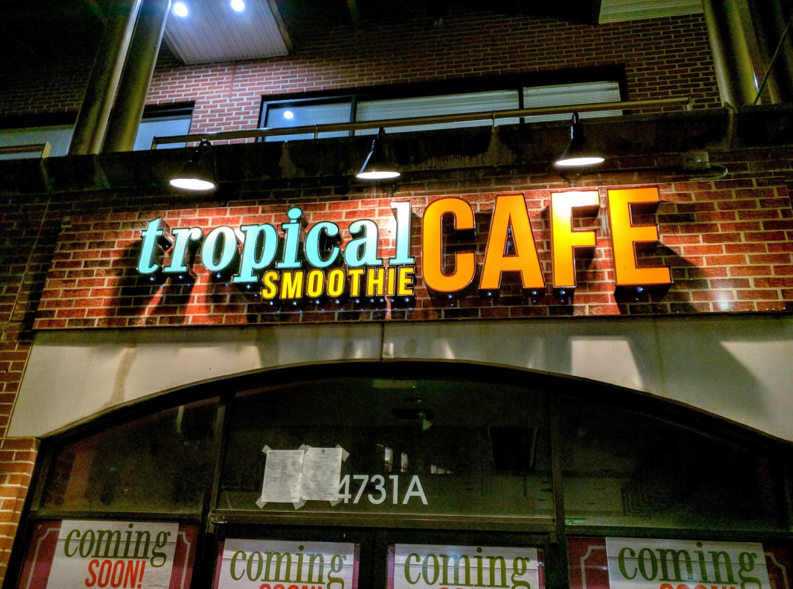 the permanent sign was installed yesterday at the new tropical smoothie cafe at 4731 a elm street this was a panas gourmet until recently if you recall - Tropical Cafe 2015