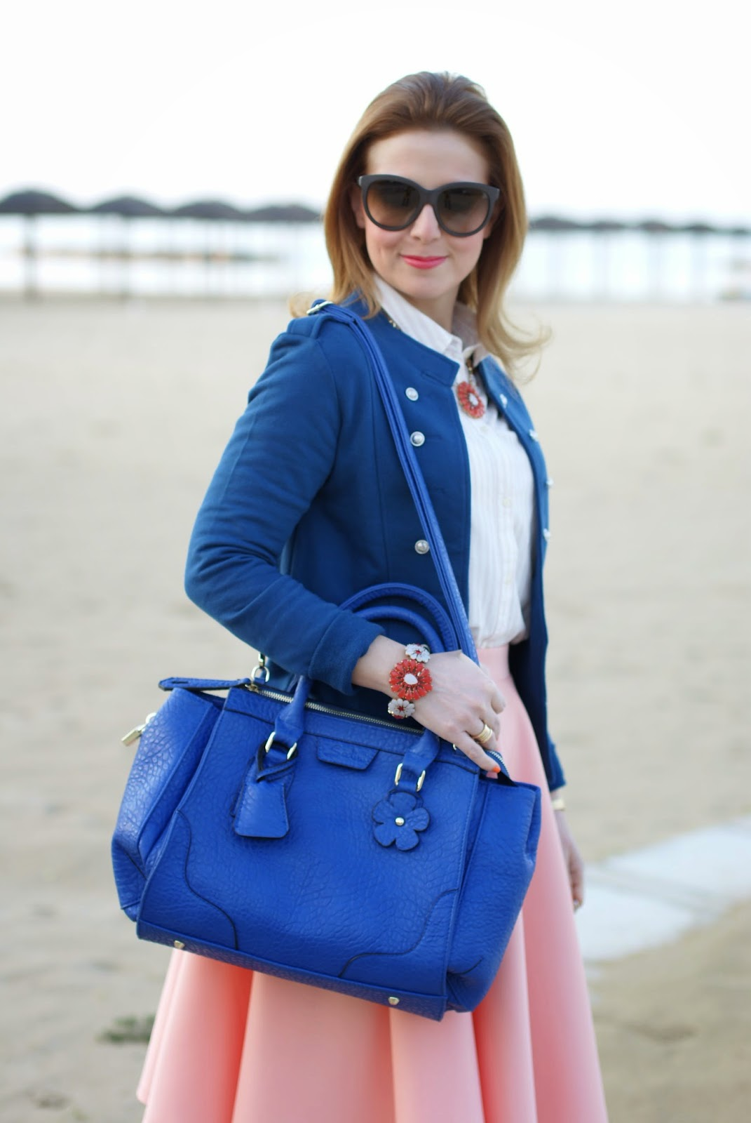 Sodini bijoux Spring Summer 2014, Only Anette military blazer, borsa blu bauletto Sodini, Fashion and Cookies, fashion blogger