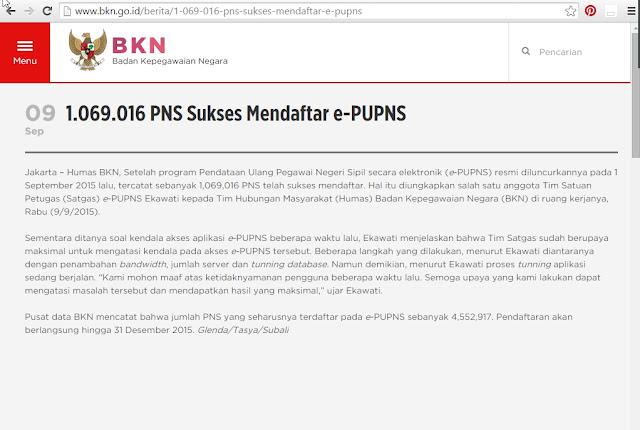 PNS yang berhasil daftar e-PUPNS 2015