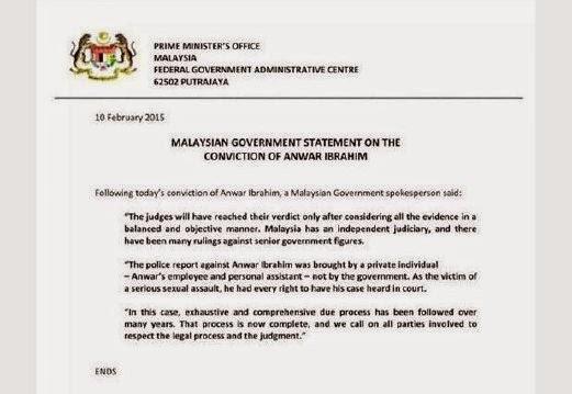 Kenyataan Kerajaan Malaysia berhubung keputusan rayuan Anwar