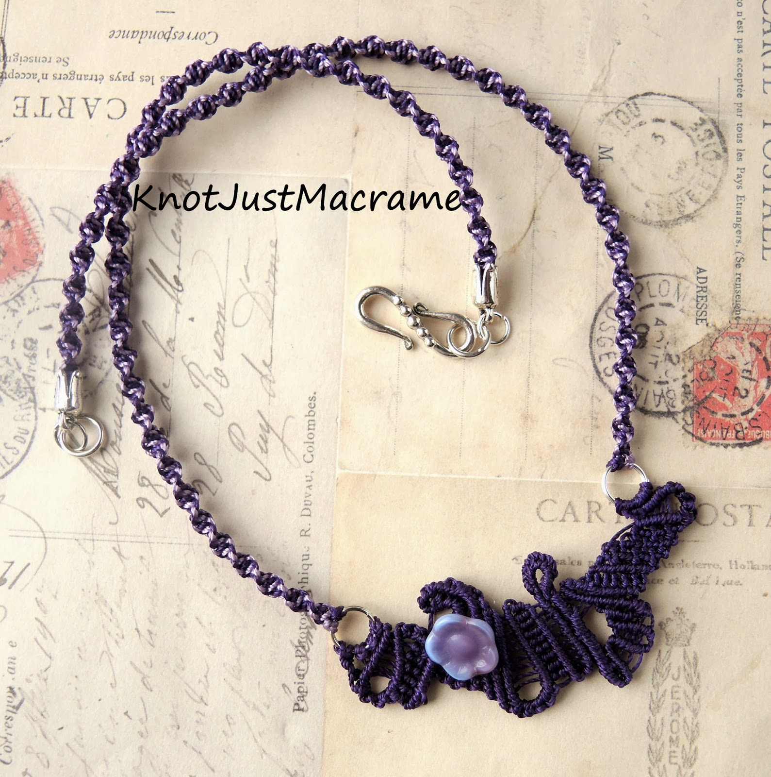 Purple freeform micro macrame necklace by Sherri Stokey