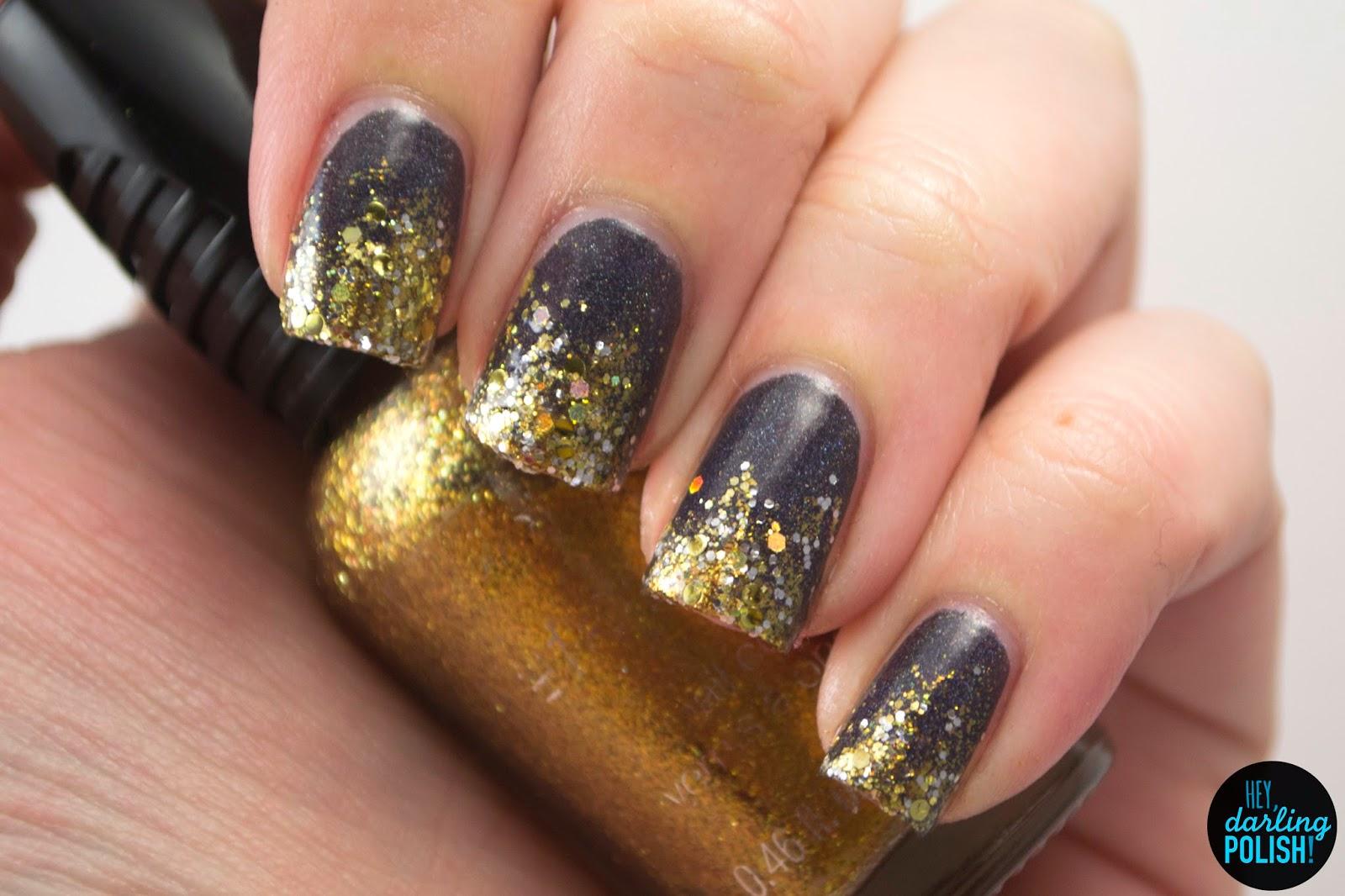 nails, nail polish, polish, indie, indie polish, indie nail polish, glitter, gold, silver, glitter gradient, holo, lacquer legion, hey darling polish