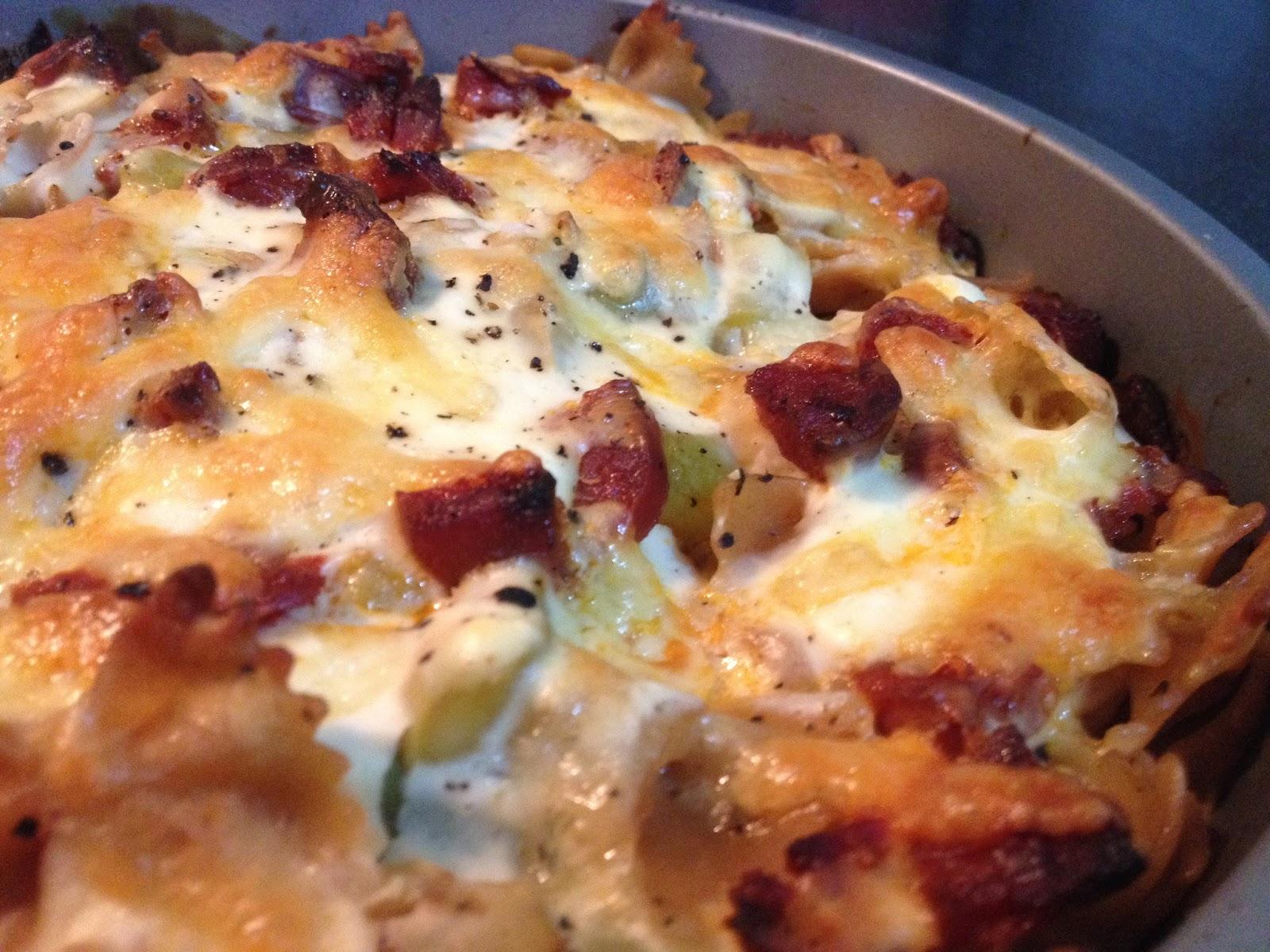 cuisine ma-ligne!: gratin de pâtes crémeux chorizo/poireaux